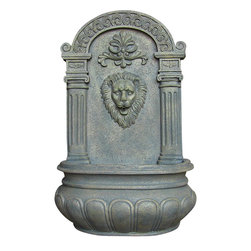 Sunnydaze Decor - Imperial Lion Outdoor Solar On Demand Wall Fountain, French Limestone - Classic beauty is yours when you mount this elegantly carved lion fountain in your outdoor space. Imbue the garden with the peaceful sounds of flowing water, and enjoy the solar powered function of this durable and lovely polystone fountain.