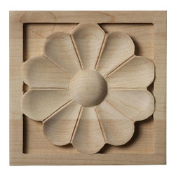 """Ekena Millwork - 3 1/2""""W x 3 1/2""""H x 3/4""""D Medium Medway Rosette, Maple - Our rosettes are the perfect accent pieces to cabinetry, furniture, fireplace mantels, ceilings, and more.  Each pattern is carefully crafted after traditional and historical designs.  Each piece is carefully carved and then sanded ready for your paint or stain.  They can install simply with traditional wood glues and finishing nails."""