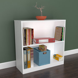 Inval America LLC - Inval White Two Shelf Desk Bookcase - This simple but functional bookcase/hutch is stain, scratch and heat resistant. This piece is laminated with double faced durable melamine, P2 engineered wood board, coming from well managed forests.