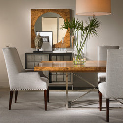 Vanguard Furniture - Michael Weiss - Vanguard Furniture, Michael Weiss Collection. W775A Everhart Arm Chair. W357M-BU Irwin Mirror. W306H-LG Stockwell Chest. W761T-BU Paladio Dining Table. W775S Everhart Side Chairs.