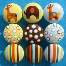 Hand-Painted Drawer Knobs, Animals, Stripes and Polka Dots by Sweet Mix Creation - Hand-painted drawer pulls put your favorite animals at your fingertips — literally!