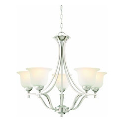 DHI-Corp - Ironwood 5-Light Energy Star Chandelier, Satin Nickel - The Design House 515544 Ironwood 5-Light Energy Star Chandelier is made of formed steel, snow glass and finished in satin nickel. Energy Star qualified, this 5-light chandelier is rated for 120-volts and uses (5) 13-watt GU24 compact fluorescent lamps. This chandelier's sprawling arms meet (5) upward facing lamps gently diffusing light from above. Measuring 24-inches (H) by 26.75-inches (W), this 12.1-pound fixture comes with a 48-inch chain that converts this ceiling mounted light to an elegant chandelier. Curved steel accentuates the soft glass to create an elegant centerpiece over a dining room table, in an entry way or in a kitchen. Energy Star products meet strict energy efficiency guidelines set by the U.S. Environmental Protection Agency and the U.S. Department of Energy to maintain a greener home. This product is UL and CUL listed and suitable for damp locations. The Ironwood collection features a beautiful matching island pendant, vanity light, wall sconce, wall mount and mini pendant. The Design House 515544 Ironwood 5-Light Energy Star Chandelier comes with a 2-year limited warranty that protects against defects in materials and workmanship. Design House offers products in multiple home decor categories including lighting, ceiling fans, hardware and plumbing products. With years of hands-on experience, Design House understands every aspect of the home decor industry, and devotes itself to providing quality products across the home decor spectrum. Providing value to their customers, Design House uses industry leading merchandising solutions and innovative programs. Design House is committed to providing high quality products for your home improvement projects.