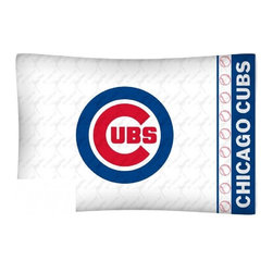 Sports Coverage - MLB Chicago Cubs Microfiber Pillow Case - Officially licensed MLB Chicago Cubs Microfiber coordinating pillow case to match Comforters, Pillow sham, Bedskirts and Draperies. The Pillowcase only has a white-on-white print and the officially licensed team name and logo printed in team colors. Made from 92 gsm microfiber for extra stability and soothing texture and is 100% Polyester. Wrinkle resistant and stain-resistant. Get your MLB Pillow Case Today.   Features:  -  92 gsm Microfiber,   - 100% Polyester,    - Machine wash in cold water with light colors,    -  Use gentle cycle and no bleach,   -  Tumble-dry,   - Do not iron,   - Pillow case Standard - 21 x 30,