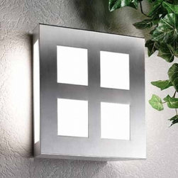 """CMD - CMD Aqua Mateo 27/2 wall sconce - Product description: The Aqua Matteo 27/2 wall sconce is designed for outdoor use and produced by CMD. It is finished in stainless steel and features a satined glass. Quality made in Germany with a 10 years manufacturers warranty.    Details:                         Manufacturer:             CMD                            Made in:            Germany                            Dimensions:             h: 11.02"""" (28 cm) x w: 11.02"""" (28 cm) ext: 3.54"""" (9 cm)                                            Light bulb:             2 x 60W max.; not included                            Material             steel, satined glass"""