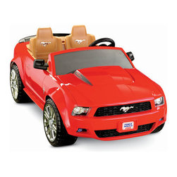 "Fisher-Price - Racing Ford Mustang - The Ford Mustang is a 2 seat, 12V BPRO. This restage ""keeps it real""` by following the new design look of the 2009 Mustang from Ford. The vehicle features a sound box with cool motor sounds, an adjustable seat and cup holder. This vehicle drives two speeds - 2.5 and 5 mph forward and 2.5mph in reverse. Can be used on hard and grass surfaces. Features: -Ford Mustang. -Powerful rechargeable battery and charger pack. -A great addition to our deluxe slot car racing set. -Top - quality car comes with double contact brushes. -Age: 3 years and up. -130lb weight limit. Looking for expedited shipping on this item? Please give our customer service team a call!"