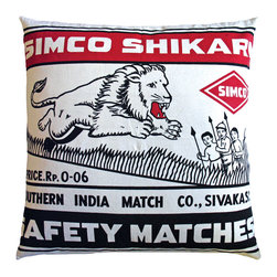 "KOKO - Match Co. Pillow, Lion Print, Red/Black, 26"" x 26"" - Vintage ads make some of the best pop art. You can add some serious charm to your home with this crazed lion pillow. It's the perfect conversation piece for a living room."