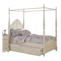 Homelegance - Homelegance Cinderella Canopy Poster Bed in Antique White - Twin with Trundle - The Cinderella collection is your little girl's dream. The Victorian styling incorporates floral motif hardware, antique ecru finish and traditional carving details that will create the feeling of a room worth of a fairy tale princess. A canopy bed completes the fantasy of this whimsical collection. Turned posts reach for the heights and are topped with carved finials. The additional trundle provides the extra sleeping space for princesses visiting from other kingdoms. Also available in dark cherry finish.