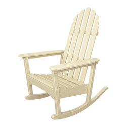 Classic Adirondack Rocker Sand All Weather Outdoor Recycled Plastic Furniture -