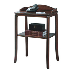 Monarch Specialties - Monarch Specialties 1590 Rectangular Telephone Table in Walnut - This contemporary telephone table is not only stylish for your living area, but can also serve as storage space. Specifically, it features a shelf to hold your magazines and books and a smooth, solid top surface perfect for your telephone and notepads. With its burnt walnut finish, tapered legs, and decorative details, this accent piece can blend into any decor.