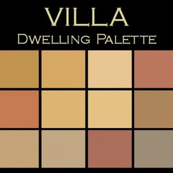 """Benjamin Moore Paint colors - Color in Space Villa Palette™--rich & earthy - Each palette consists of twelve Benjamin Moore® paint colors in 4"""" swatches and no colors are repeated. The intentional selection of the twelve colors ensures that they are energetically balanced and will create the feeling of the dwelling for which it is named."""
