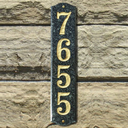 "Grandin Road - Wexford Vertical Address Plaque - This chic Wexford Vertical Address Plaque is made with solid granite for all-weather durability. These stylish address plaques feature deeply engraved 4"" numbers with 5 styles to choose from. View the Number Colors that coordinate with each plaque."