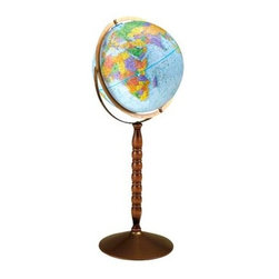 Replogle Globes - Treasury 12 Inch Blue Floor Globe w Turned Wood Stand - You will love the classic design and display base of this traditionally styled globe. It features a blue ocean and colorful geographical locations combined with an easy to read format. Perfect for the home office, study, or classroom. The base has a turned design and attractive wood finish. This economical 12 in. floor model stands 32 in. high on a durable metal base and attractive wooden pedestal. Easily converted to a table globe. Features include gyro-matic mounting and calibrated full meridian. Diameter: 12 in.. 12 in. L x 15 in. W x 32 in. H (3.6 lbs.)