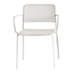 Kartell - Audrey Arm Chair, Set of 2, White/White - Audrey, the eclectic seat combining aluminum and plastic and designed by Piero Lissoni is a versatile and contemporary chair which because of its simple, clean lines due to a special die-casting process is composed of only two parts and made without welding. It is multifunctional and adaptable to all uses, indoor, outdoor, the home, office and contract, with its wonderfully rich range of combinations (about 50 in all). Audrey comes in either the chair or the armchair (with arms) version with seat and back in various colors of plastic and the aluminum frame has three versions: painted aluminum, painted white or painted black. This seat can also be used outdoors.