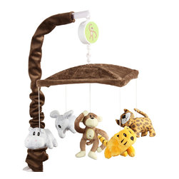 Jazzie Jungle Boy - Mobile - Join the jungle with all this collections animal friends.  This adorable mobile has solid chocolate minky fabric throughout with the collections Tiger, Cheetah, Elephant, Monkey, Hippo as main attraction!