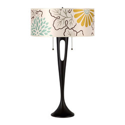 Lights Up! - Soiree Table Lamp - Base: Antique Bronze, Kimono - Complete the look of your bedroom, living room or office with this sleek and sculpted table lamp. Watch as your room comes alive once your sophisticated new lighting fixture is topped with a solid or patterned silk shade.