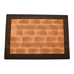 Lone Star Artisans - End Grain Maple With Walnut Cutting Border - This End Grain Maple with Walnut Border cutting board is one of our most popular types of premium cutting boards, featuring an interior of solid, end-grain rock maple and and exterior border of solid, end-grain black walnut. It is a nice large board that can be used for most any job in the kitchen. It has a stunning appearance and will be the envy of all your guests.  Weight: 12lbs.