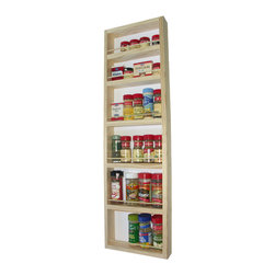 None - Solid Pine Wood 37-inch On-the-wall Spice Rack - Capable of being mounted on a wall,side cabinet or door,this functional spice rack works wonders when storing your favorite seasonings. Constructed from solid pine wood,this spice rack comes with a veneer backer.