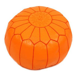 Embroidered Leather Pouf in Orange - Relax and soften up your seat with an authentic Moroccan leather pouf. Handmade out of genuine soft leather, this versatile piece can be used as a footstool, a low seat in your child�۪s bedroom, or an end table when topped with a tray. Comes stuffed with cotton batting.