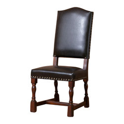 Old World Tuscan Black Leather Dining Chair Sampdoria, Side Chair - Old World Tuscan Black Leather Dining Chair Sampdoria,