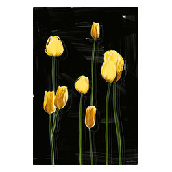 """Maxwell Dickson - Maxwell Dickson """"Yellow Tulips"""" Wall Art Canvas Print Pop Art Flower Artwork - We use museum grade archival canvas and ink that is resistant to fading and scratches. All artwork is designed and manufactured at our studio in Downtown, Los Angeles and comes stretched on 1.5 inch stretcher bars. Archival quality canvas print will last over 150 years without fading. Canvas reproduction comes in different sizes. Gallery-wrapped style: the entire print is wrapped around 1.5 inch thick wooden frame. We use the highest quality pine wood available."""