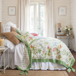 Rhododendron Floral Quilt - A beautiful way to herald the season and bring the garden indoors, this lovely bedding collection is sprigged with brilliant florals based on an original hand-painted watercolor from the late 1800's. We've faithfully reproduced the design on soft, airy cotton voile, filled it with lightweight cotton batting, outlining each flower for rich textural dimension.