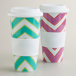 Chevron Non-paper Cups - These reusable ceramic cups feature a bright chevron pattern. If you always drink your morning joe on the run, try using this reusable version of the disposable coffee cup.