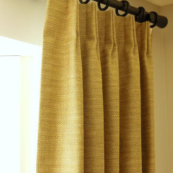 Solids and textures make it easy! - Woven Textures, shown in Olive with a European header.  Hefty lining, all custom construction details.  3 standard lengths plus the option to customize the length.  More colors.  All of our drapery panels are made in the U.S.A.   Free shipping.  Just beautiful!