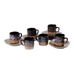 Alpine - Stoneware Demitasse Espresso Turkish Coffee Cups and Saucers (Set of 6) - The Stoneware Demitasse Espresso Turkish Coffee Cups and Saucers is the perfect size for serving an espresso or a coffee. Each cup holds three ounces of liquid.