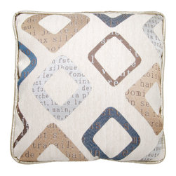 Brandi Renee Designs - Multi-color Newsprint with Cream Back Pillow - Extra, extra, read all about it! This eye catching accent has a unique style that will definitely stand out. It comes with a gentle polyfill insert, so it feels right at home tossed in with bedding or any sitting area. The creamy fabric is decorated with charming newsprint detail, while the back is covered with cream leather fabric.