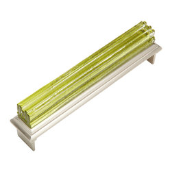"Jazz & Riffs Hardware - Jazz - Cup Pulls, Garden Green, 6"" Length - Recycled layered glass sparkles and shines with pure, clear color – harmonizing and moving, yet composed. Add the sparkle of jewelry to your next interior project. This distinctive hardware line was created for Hospitality Interiors, yet is perfect for fine furniture, cabinets and doors in restaurants, spas, hotels and high-end residential spaces. Due to the Artisan nature of this handmade process – every piece of hardware is unique."