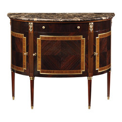 "Inviting Home - Louis XVI Style Cabinet - Louis XVI style demilune cabinet with palissander veneer rosewood trim brown Emperador marble top three locking curved doors one drawer one door one shelf inside and antiqued brass hardware; 45-1/2""W x 18-1/2""D x 37-3/4""H hand-made in Italy Hand-crafted Louis XVI style demilune cabinet. This cabinet features palissander veneer rosewood trim brown Emperador marble top. Louis XVI cabinet has three locking curved doors one drawer one door one shelf inside and antiqued brass hardware. This inlaid cabinet is hand-made in Italy."