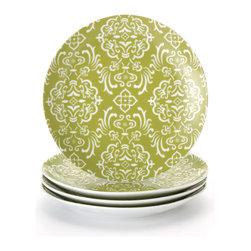 Rachael Ray - Rachael Ray 'Curly-Q' 4-piece Salad Plate Dinnerware Set - A dinner party becomes a success when a delicious menu, fun company and a comfortable setting are all added together. If these Curly-Q salad plates from Rachael Ray are part of the equation, guests are bound to have a good time.