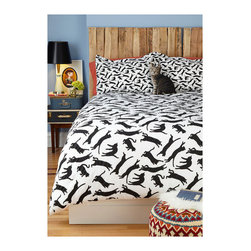 Yours, Mine and Noir's Duvet Cover, Twin/Twin XL - Cozy up under a dizzying black and white homage to the prancing cat.