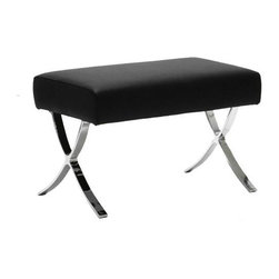 Euro Style - Pietro Leather Ottoman - Black - Black Leather cushion. Chromed steel frame. 26 in. W x 15 in. D x 17 in. H (22.1 lbs.)Grand ideas for small spaces, the smooth and clean geometric shapes give your rooms a trendy, up-to-date look. The furniture design make your rooms stylish and sophisticated, symbolizing your self confidence.