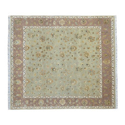 1800-Get-A-Rug - Light Green Square Hand Knotted Rug Silk Flower Rajasthan Sh9110 - About Rajasthan Collection