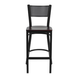 Flash Furniture - Hercules Series Black Grid Back Metal Restaurant Bar Stool - Mahogany Wood Seat - This heavy duty commercial metal bar stool is ideal for Restaurants, Hotels, Bars, Pool Halls, Lounges, and in the Home. The lightweight design of the stool makes it easy to move around. The tubular foot rest not only supports your feet, but acts as an additional reinforcement that helps secure the legs. You will not regret the purchase of this bar stool that is sure to complement any environment to fill the void in your decor.