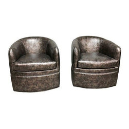 Used Milo Baughman Style Barrel Chairs - A Pair - These two beckon a secret business meeting or a gossip filled chat. A unique pair of vintage barrel chairs attributed to Milo Baughman by Thayer Coggin reupholstered in gun metal faux leather and mounted on castors.