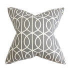 """The Pillow Collection - Lior Geometric Pillow Gray White 18"""" x 18"""" - Make your living space comfier and livelier with this plush throw pillow. This decor piece is the perfect definition of modern chic with its geometric pattern. The gray background is accentuated with a white intricate detail which lends dimension to this square pillow. Made of 100% plush and high-quality cotton fabric. Hidden zipper closure for easy cover removal.  Knife edge finish on all four sides.  Reversible pillow with the same fabric on the back side.  Spot cleaning suggested."""