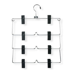 Honey Can Do - Four-Tier Fold Up Skirt and Pant Hanger - Chrome plated steel. Sturdy & rust-resistant. Adjustable clips. Hang skirts or pants. Tiered design. Hang 4 garments in the space of 1. 12.5 in. L x 0.17 in. W x 15.5 in. H (0.15 lbs.)Honey-Can-Do HNG-01188 Four Tier Skirt/Pant Hanger, Chrome/Black. Quadruple the number of garments you can hang in the same amount of space with this 4-tier skirt/pant hanger. Foldable tier design incorporates a 360 degree swivel rod hook that fits any standard hanging bar. Strong, heavy clips are adjustable to accommodate a variety of sizes and styles. Durable metal construction and chrome finish provide long-lasting beauty and reliability.