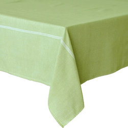 """Coulour Nature - PinStripe Tablecloth, Lime Green, 60"""" X 90"""" - PinStripe Tablecloth"""