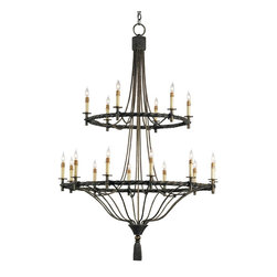 Currey & Company - Currey & Company Priorwood Chandelier CC-9174 - This lovely inspired piece of classic Wrought iron work is large in scale, but the simplicity of the design makes it feel open and light.