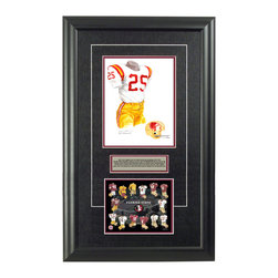 """Heritage Sports Art - Original art of the NCAA 1962 Florida State Seminoles uniform - This beautifully framed NCAA football piece features an original piece of watercolor artwork glass-framed in an attractive two inch wide black resin frame with a double mat. The outer dimensions of the framed piece are approximately 17"""" wide x 28"""" high, although the exact size will vary according to the size of the original piece of art. At the core of the framed piece is the actual piece of original artwork as painted by the artist on textured 100% rag, water-marked watercolor paper. In many cases the original artwork has handwritten notes in pencil from the artist. Simply put, this is beautiful, one-of-a-kind artwork. The outer mat is a rich textured black acid-free mat with a decorative inset white v-groove, while the inner mat is a complimentary colored acid-free mat reflecting one of the team's primary colors. The image of this framed piece shows the mat color that we use (Maroon). Beneath the artwork is a silver plate with black text describing the original artwork. The text for this piece will read: This is an original, one-of-a-kind watercolor painting of the 1962 Florida State Seminoles uniform worn by #25 Fred Biletnikoff and was used in the creation of this Florida State Seminoles uniform evolution print and thousands of Florida State products that have been sold across North America. This original piece of art was painted by artist Nola McConnan for Maple Leaf Productions Ltd. Beneath the silver plate is a 6.5"""" x 7"""" reproduction of a uniform evolution print that celebrates the history of the team. The print beautifully illustrates the chronological evolution of the team's uniform and shows you how the original art was used in the creation of this print. If you look closely, you will see that the print features the actual artwork being offered for sale. The 6.5"""" x 7"""" print is shown above. The piece is framed with an extremely high quality framing glass. We have used this"""