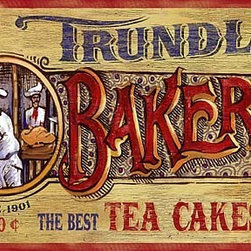 Red Horse Signs - Nostalgic Vintage Bakery Signs Large Primitive Kitchen Sign - Nostalgic  Vintage  Bakery  Signs  -  Primitive  Kitchen  Sign          Choose  this  delightful  Trundles  Bakery  vintage  sign  as  a  gift  for  your  favorite  cook.  This  nostalgic  wood  sign  can  be  personalized  with  the  name  and  specialty  of  any  pastry  chef.  For  example,  change  it  to  read,  Camille's  Bakery.  The  best  oven-fresh  rolls  in  town.  You'll  enhance  her  kitchen  with  an  old  fashioned  style  that  brings  back  memories  of  freshly  baked  bread  and  sweet  treats.  This  retro  sign  is  printed  on  aged  wood  for  an  authentic  look  and  feel.  Original  sign  includes  the  following  text:  Trundle's  Bakery.  Pies  50  cents,  Bread  10  cents.  The  best  tea  cakes  in  town.  Alter  text  for  an  additional  $15.  Please  allow  3  weeks  for  delivery.          Product  Specifications:                  Vintage  Style              Dimensions:  20x32  inches              Printed  directly  to  distressed  wood
