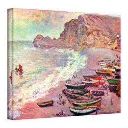 ArtWall - Claude Monet 'Cliffside Boats' Wrapped Canvas - Artist: Claude Monet Title: Cliffside Boats Product type: Wrapped Canvas