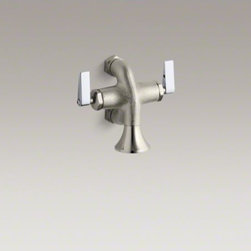 KOHLER - KOHLER Calder(TM) double lever handle wash sink faucet - Sturdy, reliable and intended for heavy use, the Calder wash sink faucet features a rough-plated finish, rosespray and single-hole mounting. The lever handles on this model meet ADA requirements, adding to its commercial utility.