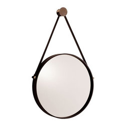 Arteriors - Arteriors Expedition Iron Mirror with Polished Nickel Hanger - Round mirror with black iron frame is accented with polished nickel hardware. Mirror hangs from a black leather strap and a polished nickel finish metal nob.