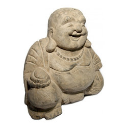 Oriental furnishings - Happy Buddha Garden Statue - Sculpture of the Happy Buddha or Laughing Buddha, a monk of the Later Liang Dynasty (907 - 923 AD) in China. Patron of the weak, the poor and children. This statue represents prosperity and happiness. His big belly represents wealth.  Made from Crushed Basalt, this Asian Buddha reproduction will look magnificent in your garden or simply in a special place in your home.  As a gift it will be greatly appreciated!