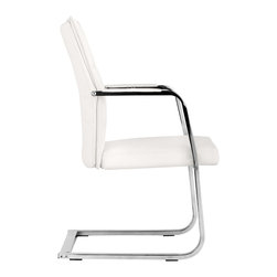 Zuo - Dean Conference Chair, White - Long meetings have met their match. The Dean Conference Chair has strong contemporary lines in a comfortable shape. This modern office chair features a beautiful chromed steel base and either a black or white body in a supple and easy to clean leatherette. It's open design all/Users/courtneylandry/Desktop/modern-white-office-chair-ZM206141-2.jpg