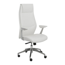 """Eurostyle - Eurostyle Crosby High Back Office Chair in White & Aluminum - High Back Office Chair in White & Aluminum belongs to Crosby Collection by Eurostyle The seat and back of the chair is made of leatherette over foam, and the frame is laminated wood. In addition, the chair has a synchronous mechanism with four locking positions with an aluminum base. Available in white and gray color. Feature Leatherette seat and back over foam. Laminated wood frame. Leatherette padded armrests. Synchronous mechanism with four locking positions. Aluminum base PU casters with stainless steel hood. Dimension 25""""L x 27""""W x 49""""H. Office Chair (1)"""