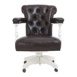 Classic Desk Chair by Windsor Smith Home - Now that you've seen this chair, I'm betting you can't look at that thin you bought at the big box office store. I know I cannot. Elegantly tufted leather on a white pedestal base and upholstered arms for extra comfort make this task chair worth saving your pennies.